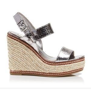 Ralph Lauren silver leather platform wedges